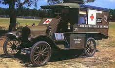 1918 Ford Model T Ambulance. during World War I. Before the arrival of the U. Army Ford Ambulances during WWI, several different charitable organizations offered the ambulances that ironically, all were pulled by horses. Ambulance, Station Wagon, Trauma, Old Ford Trucks, Army Vehicles, Medical History, Emergency Vehicles, World War One, Military Equipment