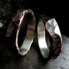 Wedding rings set textured copper silver rustic steampunk his and hers hammered wedding bands personalized wedding rings design 044 on Etsy, $360.00