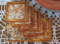 Quilted Coasters  Orange Gold Brown Batik 479 by QuiltinWaYnE