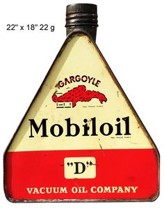 """Reproduction """" Mobiloil """"D"""" - Vacuum Oil Company """" Laser Cut Can/Bottle Metal Sign Vintage Oil Cans, Vintage Tools, Vintage Signs, Vintage Auto, Old Gas Pumps, Vintage Gas Pumps, Style Retro, Vintage Style, Metal Storage Containers"""