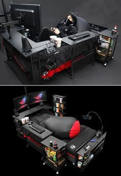 Bauhutte Gaming Beds are a Real Thing in Japan Japanese company Bauhutte makes gaming furniture according to the needs of modern gamers. You would have heard of gaming desks and chairs but the company is catching a lot of limelight for a gaming bed. Computer Gaming Room, Gaming Room Setup, Computer Setup, Pc Setup, Gaming Desk Bed, Cool Gaming Setups, Best Pc Gaming Setup, Ultimate Gaming Setup, Gamer Chair