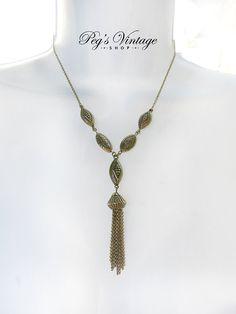 Vintage Gold Tone Tassel Necklace Gold Bead by PegsVintageShop