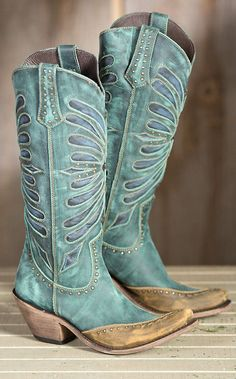 Women's Liberty Black Vintage Inlay Leather Cowboy Boots | Overland Sheepskin