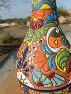 Mexican Folk Art Pottery Hand Painted Urn Beaded