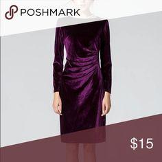 Purple Velvet Dress Long Sleeve Purple Velvet dress. Rouged mid section. Never worn. Dresses Long Sleeve