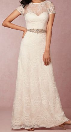 Love the neckline on this wedding gown