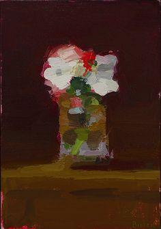 "Stanley Bielen, Rose/ Mock Orange, 2014, oil on prepared panel, 9 x 6 1/4"" at William Baczek Fine Arts www.wbfinearts.com"
