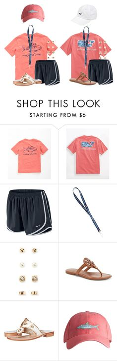 """""""I love vineyard vines!! I ❤️ the right one"""" by flroasburn ❤ liked on Polyvore featuring Vineyard Vines, NIKE, Forever 21, Tory Burch, Jack Rogers and Southern Tide"""