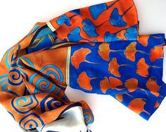 Ginkgo leaves scarf Hand painted silk scarf Blue orange painted scarf Crepe de Chine scarf Luxury shawls Art deco scarf Christmas gift mom