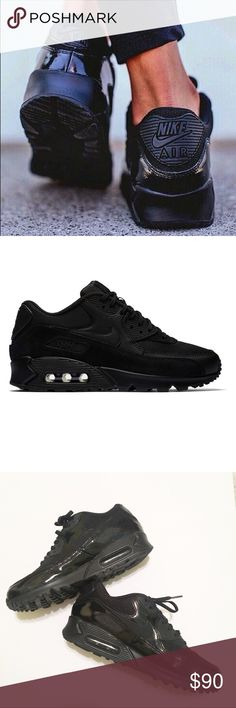 All Black Nike Air Max 90 Sneakers Size 9 Ridiculously cool, all black with holographic details in the light. New without box. Retailed $128, sold out in this color and size online. No trades, not really looking for offers at the moment because I'm still torn on whether or not I should sell these babies 😭 They are just a little tight, could probably fit an 8.5- a smaller 9. Nike Shoes Sneakers