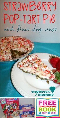 Strawberry Pop-tart Pie w/ Fruit Loop Crust! I purchased my Kellogg's ingredients from @SamsClub and was able to redeem them for free Scholastic books! #ad #Back2SchoolStockUp