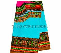 WP635 - Blue and Pink Dashiki Fabric, Large design