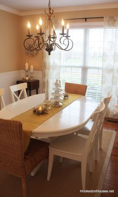 painted table, curtains and wall color idea