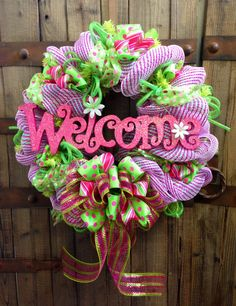 Welcome Spring/Summer wreath by WilliamsFloral on Etsy, $85.00