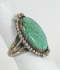 Authentic Native American Vintage Sterling Silver Turquoise ring size 7