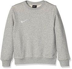 Nike Yth Team Club Crew - Sudadera para niño, color gris/blanco (Grey Heather/Grey Heather/Football White), talla M (para 10 - 11 años)