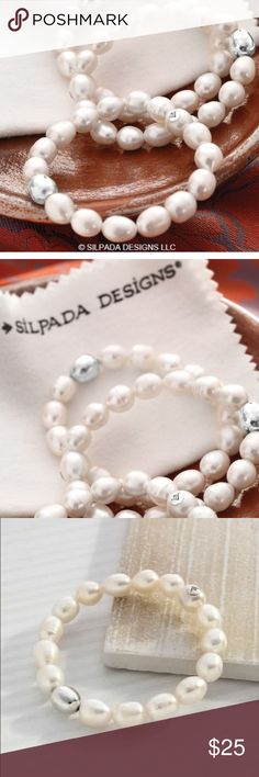 NIB Silpada SHINE ON Pearl Stretch Bracelet The listed price is for One Shine On Bracelet. This is NIB Vintage Stock from a trusted rep, she needed to sell her new old stock and I was privileged to be able to help her. I have two available. The listed price is for one. If you've shopped with me before you know I love bundles. It saves you money and I appreciate keeping negotiated prices private. Thank you for choosing to shop with me ✨❤️😘 Silpada Jewelry Bracelets