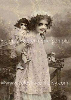 Giving Dolly a Piggy Back Ride-Creepy Doll Series 8x10 Fine Art Print. $12.00, via Etsy.