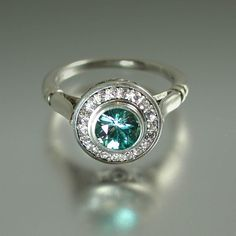 THE SECRET DELIGHT 14k white gold Blue Zircon engagement ring by WingedLion on Etsy