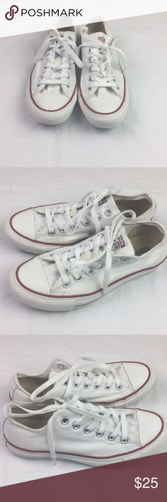 White converse all star low tops size 7 White converse all star low tops with red and white striping. Some discoloration exteriorly. Stain inside left shoe as shown. men's 5 women's 7 Converse Shoes Sneakers