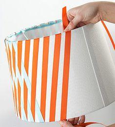 Make a crisscross lampshade: Add orange strips