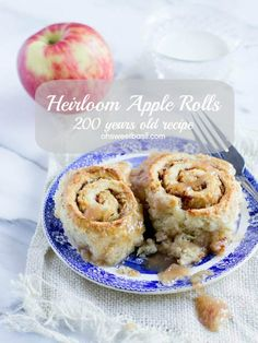 Heirloom Apple Rolls from over 200 years ago. Tender cinnamony rolls loaded with apples and baked in a sweet syrup. Serve with warm cream or milk and enjoy ohsweetbasil.com