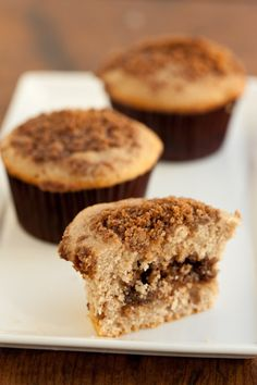 Sour Cream Cinnamon Steusel Muffins with Pecan Filling