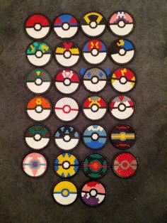 Anime hema beads | Hama Bead Pokeballs by mopsy747