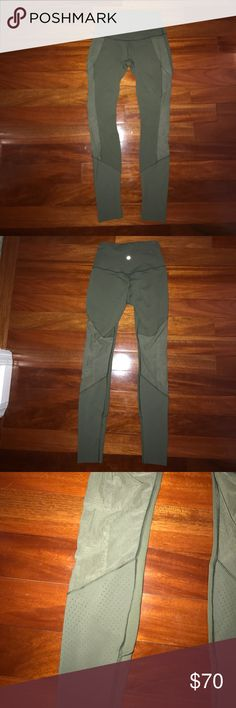 Olive green lulu lemon leggings! Seriously my favorite color leggings ever! I bought them too big for myself so I wore them once! So cute on though and have a cute mesh design down the back of the leg! Basically new! lululemon athletica Pants Leggings