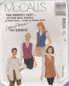 Vest Pattern Long Short Lined Semi Fitted uncut Size 18 McCalls 8804 by PrettyfulPatterns on Etsy