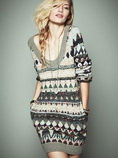 Free People - fair isle sweater dress tunic
