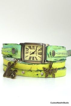 Wrap Watch, Green Vintage Looking Womens leather watch, Unique Jewelry, Bracelet Watch with Charms