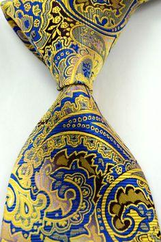 Paisley Floral Gold Blue Silk Men's Tie
