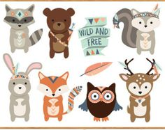 Tribal Animal Faces Clipart Cute Clip Art by KennaSatoDesigns