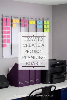 Learn tips on how to create a project planning board like the one pictured which is acrylic boards broken into categories with colorful post it notes for each individual task for each category. Office Organization At Work, Planner Organization, Organizing Life, Home Business Organization, Project Life Organization, Organizing Ideas, Planning Board, Project Board, Work Project