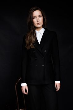 Mannish tailoring featuring crisp white shirt and double-breasted jacket by Carolyn Donnelly The Edit Crisp White Shirt, Double Breasted Jacket, What To Wear, Women Wear, Dressing, Formal, Coat, Jackets, Shirts
