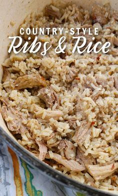 Country-Style Ribs & Rice! An old-school Southern recipe made with rice cooked in a rich stock made from slowly cooked country-style ribs. Pork Dishes, Rice Dishes, Tasty Dishes, Main Dishes, Side Dish Recipes, Pork Recipes, Cooking Recipes, Healthy Recipes, Southern Style Potato Salad