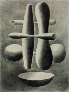 'Forms' (1936) by British painter Paule Vézelay (1892-1984). Charcoal on canvas, 730 x 540 mm. via the Tate