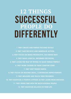 12 Coisas que as pessoas de #Sucesso fazem!