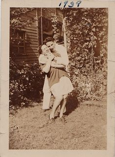 Vintage Antique Photograph Man Bending Woman Over and Hugging Her 1939