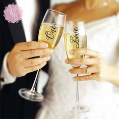 Check out this item in my Etsy shop https://www.etsy.com/uk/listing/270103356/wedding-champagne-flute-decals-one-love
