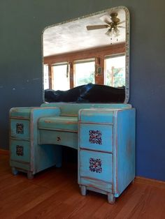 3bf0ad17c02 1930 40 Art Deco Vanity brought back to life. Layered chalk paint