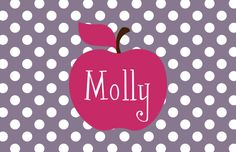 Personalized Placemat - 12x18 laminated placemat apple