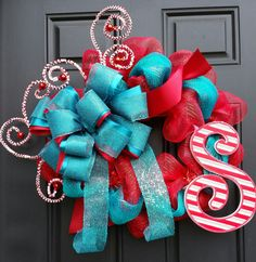 Christmas Turquoise and Red Candy Cane Monogram Whimsical Deco Mesh Wreath by BetsyLuWreaths on Etsy