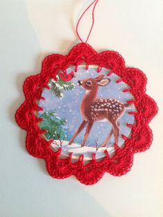 Christmas card ornament red with fawn deer and by littlebundles3, $2.50