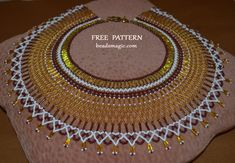 Free pattern for beaded necklace Semiramis in egyptian style Bead Crochet Patterns, Bead Embroidery Patterns, Beading Patterns Free, Seed Bead Patterns, Weaving Patterns, Free Pattern, Color Patterns, Knitting Patterns, Mosaic Patterns