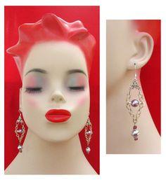 Purple Chandelier Chain & Glass Pearl Earrings by britpoprose99, $4.99