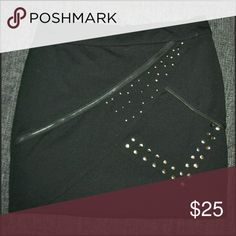 KK Black Studded Zipper Skirt BNWOT - no flaws  *NOTE: I have updated the prices of ALL clothing in my closet to reflect the final selling price. Prices are set as low as I am willing to go for each item.   - Please, No Offers On Clothing. PRICES ARE FIRM. ♥ Kardashian Kollection Skirts