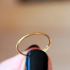 18k Yellow Gold Stacking Ring Hammered Band by ShopClementine