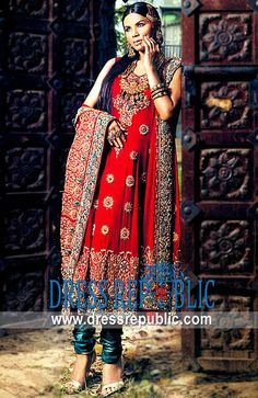 Red Boston, Product code: DR2032, by www.dressrepublic.com - Keywords: Traditional Red Anarkali Dress for Engagement and Special Occasions